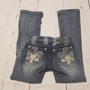 MISS ME Women's Embellished Fleur de Lis Jeans
